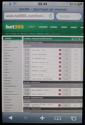 Bet365 hemsida i iPhone